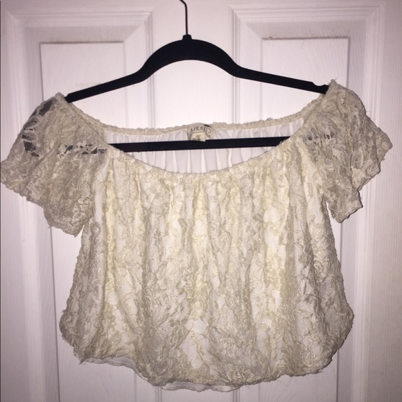 Tops - Lace white off the shoulder top